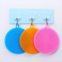 Herramientas de silicona Tazón cepillo de limpieza multifunción mágico colorido del pote del cepillo de limpieza Estropajo Pan de lavado cepillos de limpieza de cocina KKB2789