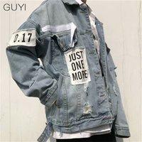 Guyi retro carta rasgada jeans jaquetas homens oversize manga comprida buraco outerwearCoats moda streetwear hip hop jaquetas casuais lj201013