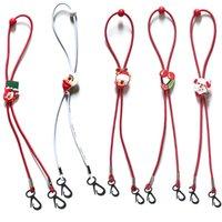 Maschere di Natale per bambini cordino anti-perdita Maschera corda Glassses Face Porta Maschera Cordino regolabile Hang On Neck 19 stile HHA1613