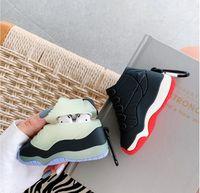سوبر الفاخرة الرياضة كرة السلة أحذية سماعة القضية ل airpods 1 2 3 لينة السيليكون سماعات بلوتوث اللاسلكية مربع مضيئة