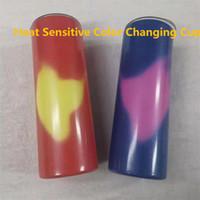 التسامي الحرارة تتغير مستقيم بهلوان 20oz الحرارة الحساسة اللون تغيير كوب الصلب نحيل بهلوان تغيير اللون عن طريق لمس