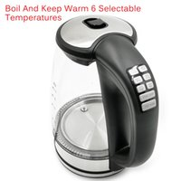 Electric Water Kettle Glass Temperature Control Cordless with Blue LED Light 2L Tea Kettle Automatic Shutof