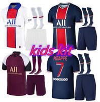 최신 파리 키즈 멀리 키트 저지 20 21 Mbappe Verratti Cavani 디 Maria Maillot de Foot Enfant 파리 세 번째 축구 셔츠 유니폼