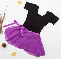 Scena zbiornik zbiornik top leotard spódnica dwa kawałki zestaw balet taniec szkolenia aktywne dziewczyny bawełniane gimnastyki body purpur