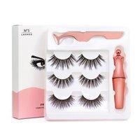 3 pares Cílios magnéticos cílios falsos + Líquido Eyeliner + pinça Eye Makeup set ímã 3D Cílios postiços