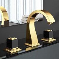 Gold Luxus Messing Badezimmer Waschbecken Wasserhahn Zwei Griff Drei Loch Top Qualität Becken Mischbatterie Wasserhahn