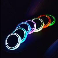 LED 빛나는 물 코스터 68x8mm 미끄럼 방지 수상 코스터 다채로운 USB 자동차 인테리어 분위기 빛 LED 컵 음료 홀더