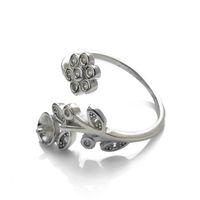 Solo 1 pezzo I risultati delle gioiellerie Anello SEMI Mount 925 Sterling Silver Floral FAI DA TE FAILMENCO ANELLO BANCO