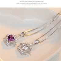 Chegada nova 925 jóias de prata esterlina jóias austríaca coroa de cristal pingente de casamento roxo / prata água colar de onda epacket 108 m2