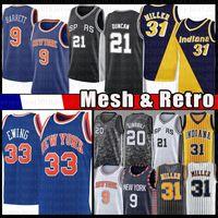 Patrick 33 Ewing RJ 9 Barrett Basketball Jersey Reggie 31 Miller Tim 21 Duncan Mesh Jerseys Retro Mens Black Blue Herren Billig