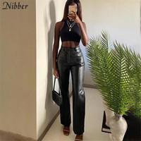 Nibber Luxuriöses Kunstleder Vintage Y2K Freizeit Gerade Hosen Für Frauen Herbst Winter Büro Dame Slim Design Hose Weiblich