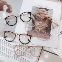 1 قطع الرجعية مكافحة الأزرق راي نظارات الكمبيوتر النساء جولة العين الزجاج الرجال الأزرق ضوء حظر الأزياء النظارات الإطارات البصرية A96568