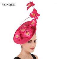 Chapeaux de fête Imitation Sinamay Femmes Feathers Millinery Fascinator Derby Kendeucky Caps Bridal Headpiece élégante mariée pour l'occasion1