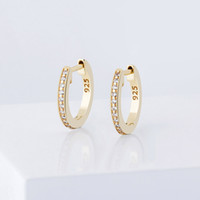 Hip Hop Männer Frauen Reifen Ohrringe 925 Silber Ohrringe Schmuck Klassische Mode 18k Gold Rhodium Überzogene Kreis Kurzer Luxus Bling Zirkon Ohrring