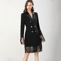 Женские взлетно-посадочные полосы Траншевые пальто зубчатых воротников с длинными рукавами с двусмысленными кисточками Элегантные офисные платья длинные пиджаки