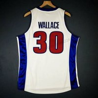Custom Retro # 30 Rasheed Wallace Mitchell Finals College Basketball Jersey Men todos cosidos blancos Cualquier tamaño 2xs-4xl 5xl nombre o número