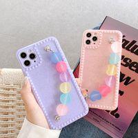 كوريا جديد لطيف اللون حلوى الحب القلب سوار حالة الهاتف لفون 12 مصغرة X XR XS 11pro MAX 7 8 زائد fundas غطاء لينة الظهر