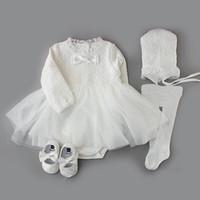 의류 세트 고품질 아기 유아 소녀 공주 드레스 세례 봉사 웨딩 파티 가운 샤워 선물 PO 촬영