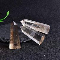 الدخان الطبيعي كوارتز الكريستال نقطة شفاء الحجر سداسية المنشورات 50-80 ملليمتر مسلة عصا المعالجة برج الحجر diy jlltrm