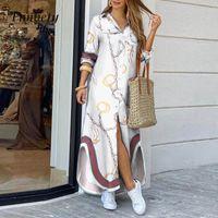 Elegante Frauen Button Down Langes Hemd Kleid Sommer Buchstaben Drucken Revers Nacken Party Kleid Dame Langarm Maxi Beach Kleid Vestido X1224