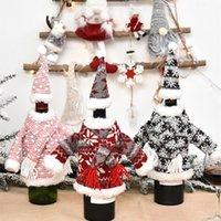 Новогоднее украшение стола ткань искусства шампанского вина мешок вязание шарф набор одежды Рождество бутылки вина покрытие T2I51574