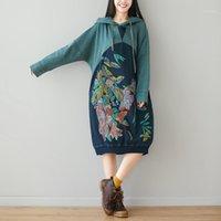 Imprimir Floral Largo Sudaderas con capucha Mujeres Sudadera con capucha Sudadera Superada Pullover Sobredicence Batwing Manga Vintage Japón 2020 Primavera Autumn1