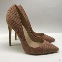 sapatos de fundo vermelho de Brown Mulheres de salto alto oito centímetros 12 centímetros 10 centímetros grande bombas de tamanho 45 cúspide Belas salto sapatos único Nightclub casamento noiva sapatos