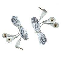 2.5mm 2 Knoppen Elektrode Looddraden Verbindingskabels voor digitale tentherapie Machine Massager Electrode Wire Plug Hot Selling1