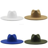 9 cm de ala ancha sombreros del sombrero de copa del sombrero del jazz Formal Hombres Mujeres Cap Panamá Fedora del fieltro tapas Señora mujer del hombre del sombrero flexible Chapeau Accesorios de Moda NUEVO