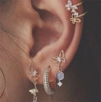 Resina Rhinestone Mujer Pendiente Joyería Mariposa Patrón Moda Cuelga Oído Partamentos Pendientes Pendientes Clip Pendientes Traje 4nz J2B