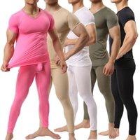 الرجال الملابس الداخلية الحرارية الرجال السراويل + الفحص الجليد الحرير القضيب الحقيبة طماق السراويل الأكمام t-surprirts مجموعات الرياضة كمال الاجسام رياضة fitnes