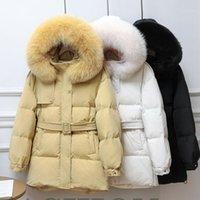 High Quality Down Jacket White Duck Down Women Winter Warm Hooded Fur Collar Fashion Loose Women's Jacket JK2951