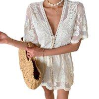 Mode Frauen Elegante Strampler Playsuit Spitze Kordelzug V-Ausschnitt Kurzarm High-Taille Kurze Overalls Weiße Einteiler Kleidung
