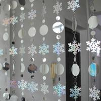 Decoración de Navidad Cortina de casa Copos de nieve grandes Ligas láser PVC Glitter Lentejuelas Cortina Árbol de Navidad Adornos Y200903