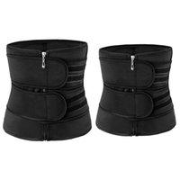 Taille Unterstützung 2 Stück Yoga Fitness Trainer Abnehmen Gürtel Sauna Bauchformung Unterwäsche Sculpt Black, M XL