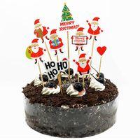 Decorazioni natalizie 1 set torta Topper Babbo Natale Snowman Cupcake Toppers per Home Xmas Natal Navidad Decor Noel