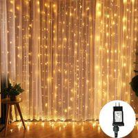 3X3M 300 LED-Vorhang Eiszapfen-Schnur-Licht 31V 8 Modi Verknüpfbar Weihnachtslicht Girlande für Hochzeit Haus Patio-Garten-Partei Dekor