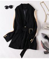 2020 Frühling und Herbst Frauen Blazer Schwarze Nähte Anzug Weibliche Gürtel Retro Neue Mode Britische Stil Frau Anzug1