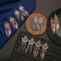 Новая мода старинные этнические перья свисающие серьги Богемия радуги цвета семян персонализированные кисточки женские женские украшения подарки 116 G2