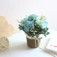 Día de la Madre Vintage Carnation Rattan Cesta artificial Flor Bonsai Set Lilac Ornamentos Artificial Greenery1