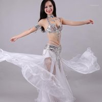 Moda Donna Belly Dance Costumes Set Set di perline Ladies Modern Dancing Stage Stage Performance 5 pezzi Bra e gonna Suits1