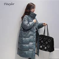 Fitaylor длинная куртка женщины 90% белая утка вниз парку новая зима голубой пальто женское желтое вниз толстое теплые верхняя одежда 201029