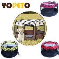 المحمولة قابلة للطي خيمة كلب بيت الكلب قفص الكلب القط خيمة playpen جرو بيت الكلب Yopeto سهلة العملية مثمنة سياج قفص دوجهاوس LJ201204
