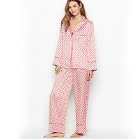 Şık kış pijama kadınlar için nokta moda uzun kollu pijama iki adet set bayanlar saten ipek pj loungewear ev takım elbise w1225