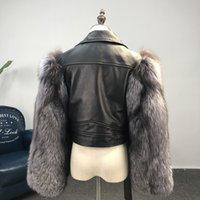 Fursarcar Yeni Moda Hakiki Deri Ceket Motosiklet Kadın Kısa Ince Gerçek Deri Ceketler Lüks Kış Doğa Fox Kürk 201207
