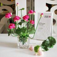 장식 꽃 화환 11 머리 미니 인공 실크 로터스 꽃 leafs 녹색 식물 바탕 화면 홈 장식 1