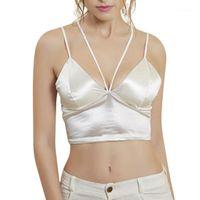 Camisoles Tanques Europeu Fashion Tank Tops Sexy Cruz Slim Strap Colete Sem Fio Peito Camisole Camisole Mulheres Crop Tops1