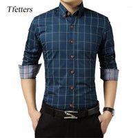 Erkek Casual Gömlek TFETTERS Marka Klasik Ekose Erkekler Gömlek Uzun Kollu AŞAĞı Yaka Artı Boyutu Sosyal Giysiler Erkekler Için1