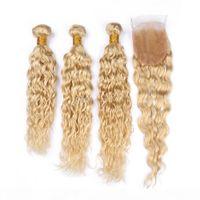 Blonde # 613 мокрые волнистые волосы волосы с кружевной крышкой 4шт. Лот Бразильская Волна Волна Человеческие Волосы 3 Пучки с кружевной Закрыть Свободная часть