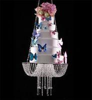 18 pollici cristallo lampadario in stile swing Drape sospeso basamento della torta rotonda Hanging Cake Stand centro di nozze